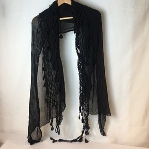 Black gauze scarf with crochet details